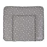 Wickelauflage HONEY   weiche Wickelunterlage   Öko-Tex 100   abwaschbar und pflegeleicht (72 x 85 cm, Sterne grau-weiß)