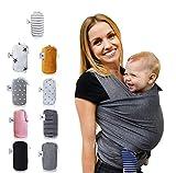 Fastique Kids® Tragetuch - elastisches Babytragetuch für Früh- und Neugeborene + Anleitung (5,2m x 0,55m, grau)