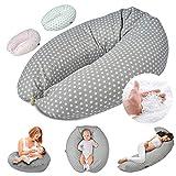 SMOOTHY Stillkissen Schwangerschaftskissen zum Schlafen, Erholen & Stillen Seitenschläferkissen Lagerungs-Kissen für Mutter und Baby mit hochwertiger EPS-Perlen Füllung 155 x Ø 30 cm (Grau)